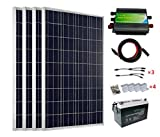 ECO-WORTHY 400 Watt 24V Solar Panels Kits: 4pcs 100W Solar Panel + 45A PWM Charge Controller + Solar Cable+ Z Mounting Brackets + Y Branch MC4 Connectors+100Ah 12V Sealed Lead-Acid Battery