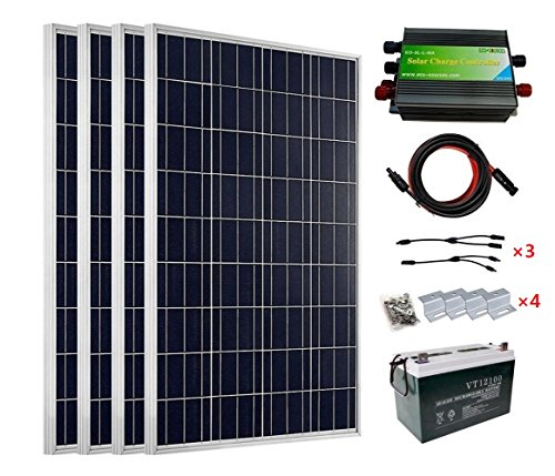 ECO-WORTHY 400 Watt 24V Solar Panels Kits: 4pcs 100W Solar Panel + 45A PWM Charge Controller + Solar Cable+ Z Mounting Brackets + Y Branch MC4 Connectors+100Ah 12V Sealed Lead-Acid Battery by ECO-WORTHY