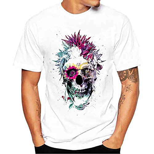 Clearance! Plus Size Men's Flower Sugar Skull T-Shirt Day of The Dead Tee Shirt Graphic Short Sleeve Top (White, XXXL)