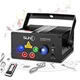 SUNY Laser Lights Music Show DJ 80 Combinations Laser Gobos Projector Indoor 5 Lens 3 Color RGB Decoration Light Blue LED Remote Control Stage Lighting Red Green Blue Sound Activated Party House Xmas