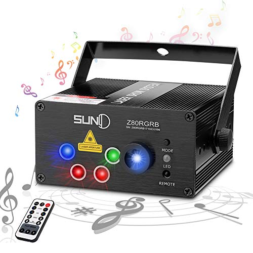 SUNY Laser Lights Music Show DJ 80 Combinations Laser Gobos Projector Indoor 5 Lens 3 Color RGB Decoration Light Blue LED Remote Control Stage Lighting Red Green Blue Sound Activated Party House Xmas - Black Professional Dj Lighting