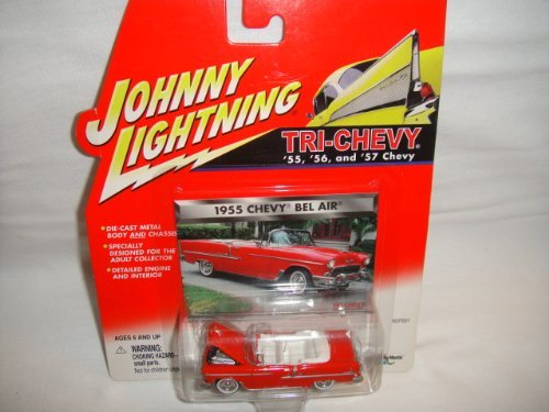 JOHNNY LIGHTNING 1:64 SCALE TRI-CHEVY SERIES RED 1955 CHEVY BEL AIR CONVERTIBLE DIE-CAST COLLECTIBLE by Playing Mantis by Playing Mantis ()