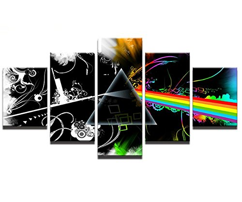 Framed 5 Piece - Pink Floyd Canvas Modern Home Decoration Wall Art Canvas Picture Print Painting Set of Wall Pictures for Living Room/Office Room (20x35cmx2,20x45cmx2,20x55cmx1) (Band Pink Photos Floyd)