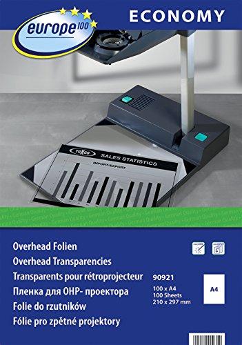 europe100 90921 Overheadfolie für Laserdrucker und Kopierer, DIN A4, 100 Blatt, transparent