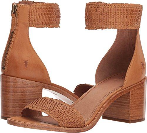 FRYE Women's Bianca Woven Back Zip Heeled Sandal, tan, 6 M US