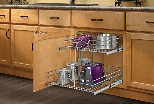 (Rev-A-Shelf - 5WB2-2122-CR - 21 in. W x 22 in. D Base Cabinet Pull-Out Chrome 2-Tier Wire Basket)