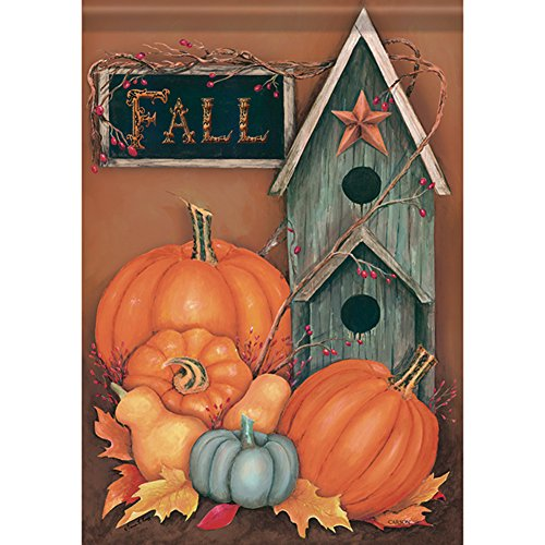 Rustic Fall Birdhouse House Flag Autumn Pumpkin Primitive Do