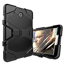 For Samsung Tab E 9.6 Case,JOBSS Heavy Duty Shockproof Hybrid Rugged Rubber Protective Stand Case For Samsung Tab E Wi-Fi / Tab E Nook / Tab E Verizon 9.6-Inch Tablet (Fit All Versions SM-T560 / T561 / T565 / T567V)Black