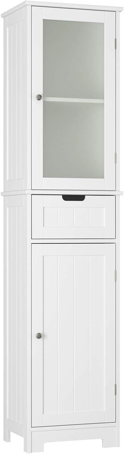 HOMECHO Bathroom Storage Cabinet with 3 Tier Shelf Drawer GlassDoor, Floor Cabinet Free Standing Linen Tower Tall Slim Side Organizer Shelves Wooden Cupboard, Ivory White, HMC-MD-015