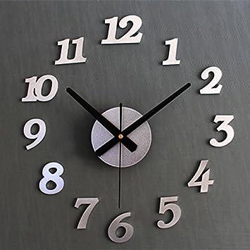 HUANGYAHUI Reloj de pared Bricolaje Metálicos Relojes De Pared Adhesivos Números ,Plata: Amazon.es: Hogar