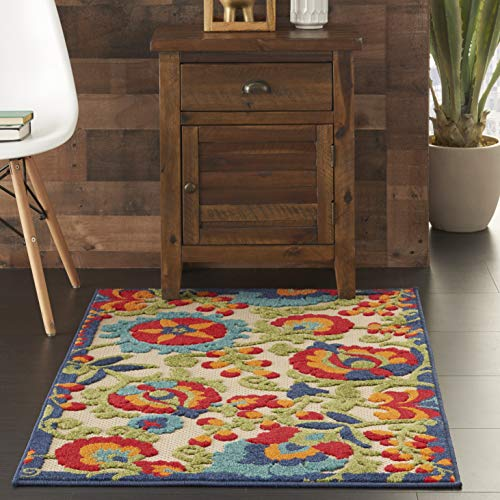 (Nourison Aloha Multicolor Transitional Tropical Indoor/Outdoor Area Rug 2'8