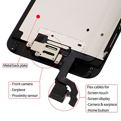Screen Replacement For i 6 Black, Fully Pre-Assembled LCD Display and Touch Screen Digitizer Replacement for A1549/A1586/A1589, Including Repair Tools by Tizore (Image #2)