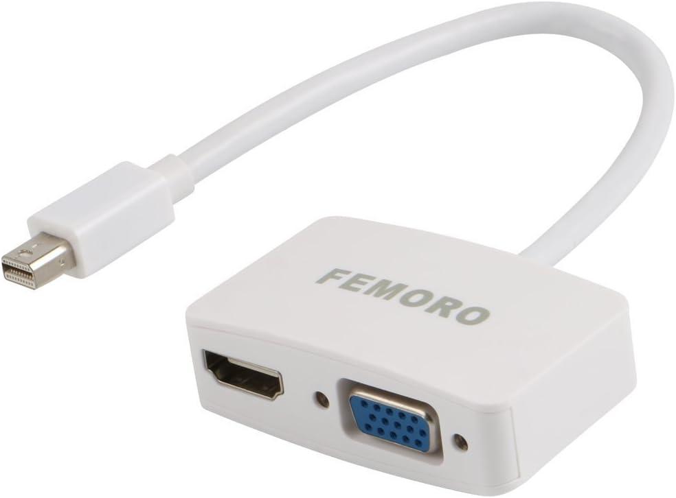 Mini Display to VGA HDMI Adapter 2-in-1 Converter Hub, FEMORO MDP Displayport to HDMI VGA Adapter (Thunderbolt Compatible) for Mac MacBook Air Pro,Surface Pro 3 4 HDTV