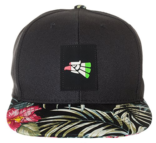 Mexico National Pride Flowers Floral Snapback Hat Cap (Black Floral)