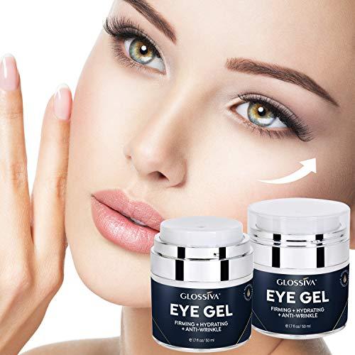 51irr4MaebL - Glossiva Eye Gel, Hyaluronic acid for Wrinkles, Fine Lines, Dark Circles, Puffiness, Under Eye Bags - Hydrating, Firming, Rejuvenates Skin - Advanced Repair Formula 1.7 Fl Oz