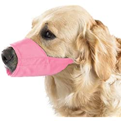 "Guardian Gear Lined Nylon Muzzles — Brightly Colored and Versatile Muzzles for Dogs and Cats - 8"" Snout, Size 4, Pink"