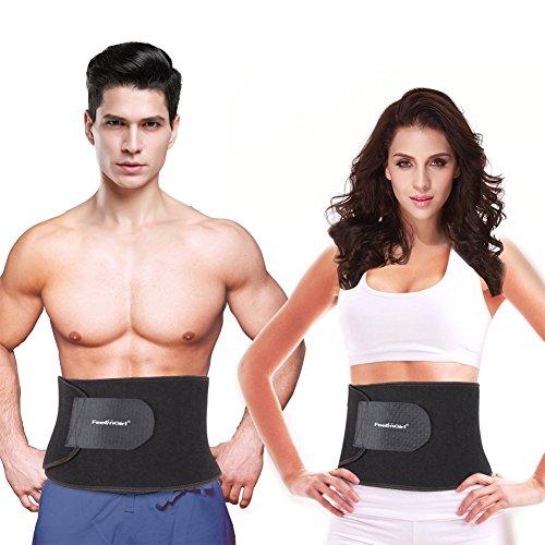 FeelinGirl dulce sudor prima cintura Trimmer para hombres y mujeres fortalecer abdomen Abs ancho cinturón tamaño OS negro