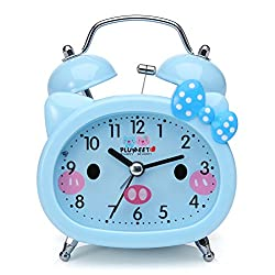 Plumeet Twin Bell Alarm Clock Kids, Silent Non-Ticking Cartoon Quartz Loud Alarm Clock Boys, Cute, Handheld Sized, Backlight, Battery Operated (Blue)