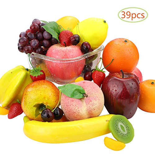 CEWOR 39pcs Artificial Fruits Lifelike Fake Fruits Various Simulation Fruits Apple Banana Cherries Mango Grape for Home Decoration by CEWOR