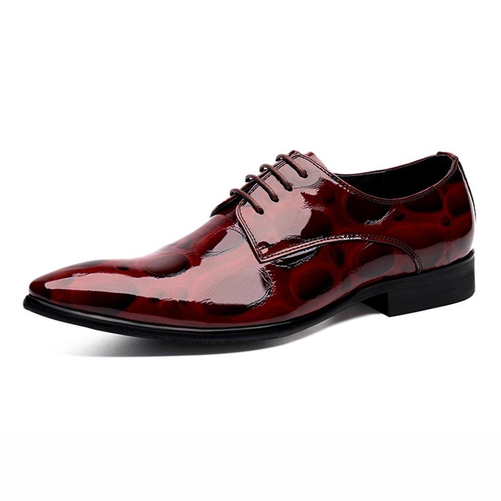 Zapatos Clásicos de Piel para Hombre Spring Men Formal Wear Zapatos de Cuero Male Pointed Lace British Style Marry Suit Zapatos de Hombre (Color : Azufaifo Rojo, Tamaño : EU44/UK8.5) EU44/UK8.5|Azufaifo Rojo