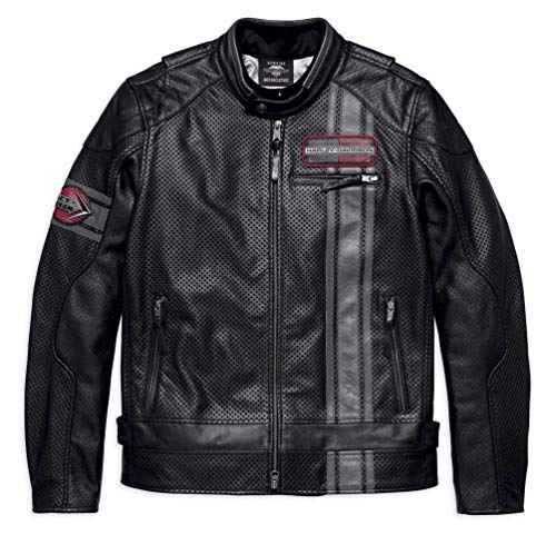 Harley-Davidson Men's Manta Leather Jacket w/Coolcore Tech 97009-18VM (2XL) - Davidson Harley Bags Leather
