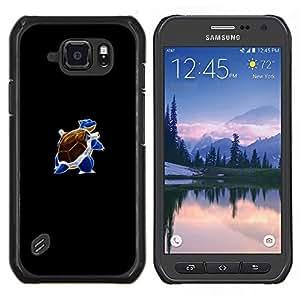 Caucho caso de Shell duro de la cubierta de accesorios de protección BY RAYDREAMMM - Samsung Galaxy S6Active Active G890A - Meter Blue Monster Tortuga