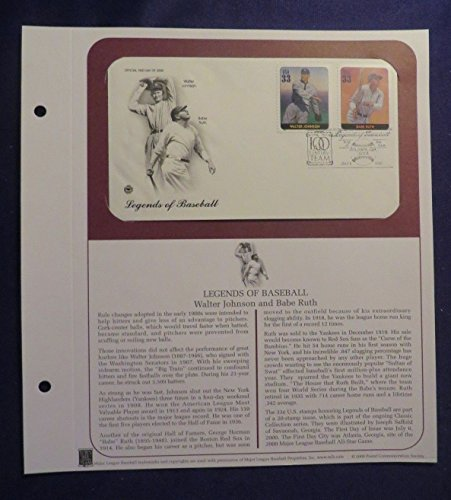 (Unbranded PCS July 6, 2000 BABE RUTH/W JOHNSON First Day Issue Cover LEGENDS BASEBALL)
