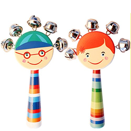 2 Pcs Vivid Color Smile Rainbow Handle Wooden Bells Jingle Stick Shaker Rattle Baby Kids Children Musical (Bell Shaker)