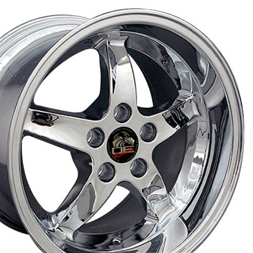 17x10.5/17x9 Wheels Fit Ford Mustang - Cobra R Deep Dish Style Chrome Rim - SET