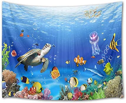 HVEST Sea Turtle Tapestry Tropical Fish Jellyfish and Coral Reef Under Blue Sea Wall Hanging Blanket Ocean Tapestries for Bedroom Living Room Dorm Decor,92.5Wx70.9H inches