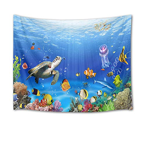 HVEST Sea Turtle Tapestry Tropical Fish Jellyfish and Coral Reef Under Blue Sea Wall Hanging Blanket Ocean Tapestries for Bedroom Living Room Dorm Decor,80Wx60H inches
