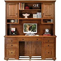 Eagle Oak Ridge Tall Double Pedestal Desk Hutch with Doors, Dark Oak Finish