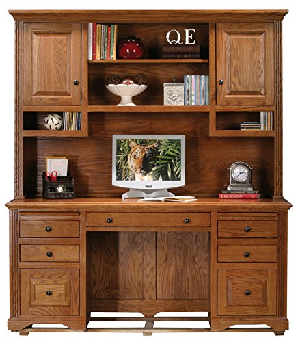 - Eagle Oak Ridge Tall Double Pedestal Desk Hutch with Doors, Dark Oak Finish