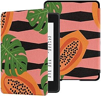 Estuche para Kindle Paperwhite 10th Generation 2018 Spring Retro Fruit Papaya Leaf Cover Kindle Paperwhite 2018 Estuche con Auto Wake/Sleep: Amazon.es: Electrónica