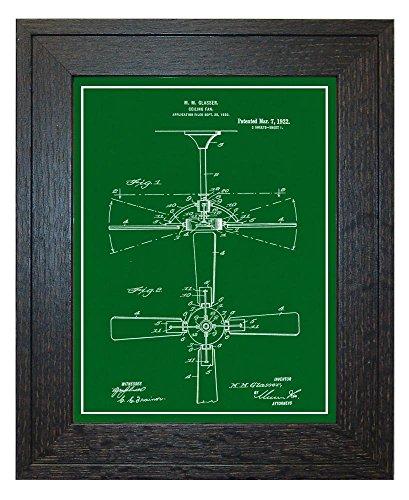 Oak Antique Ceiling Fan (Ceiling Fan Patent Art Green Print with a Border in a Rustic Oak Wood Frame (20