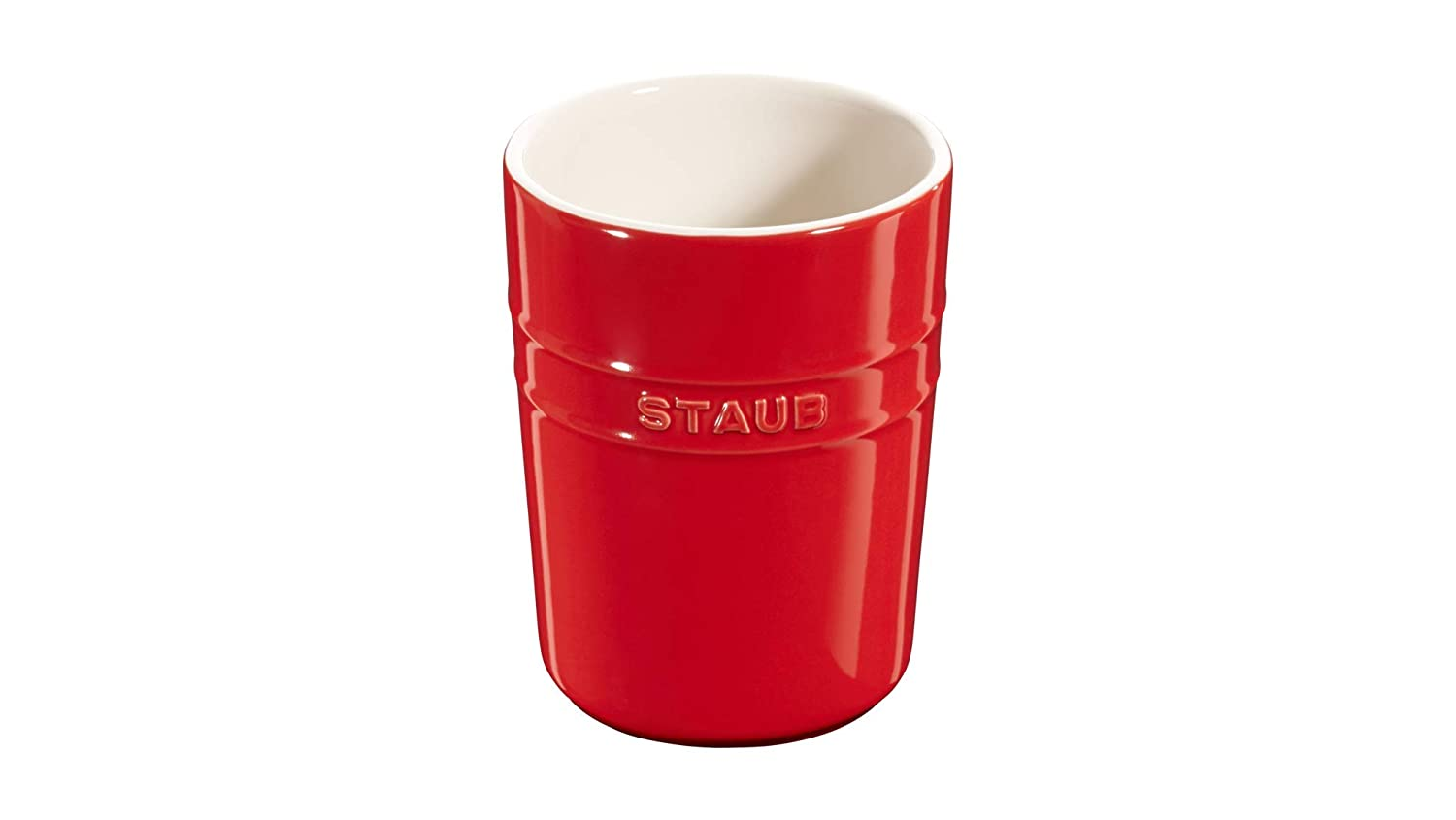 ZWILLING J.A HENCKELS 40511-577 Staub Ceramic Utensil Holder with Silicone Mat Red