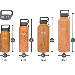 Healthy Human 32 oz Water Bottle - Cold 24 Hrs, Hot 12 Hrs. 4 Sizes & 12 Colors. Double Walled Vacuum Insulated Stainless Steel Thermos Flask with Carabiner & Hydro Guide. Color: Natural Wood
