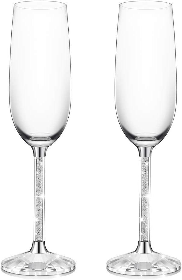 Juego de 2 copas de champaña IFOLAINA sin plomo con forma de flauta de 8 onzas con tallo de diamante de cristal largo: cumpleaños, aniversario o regalos de boda