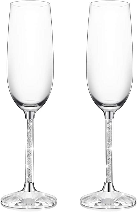 Valentines Day Anniversary or Wedding Gifts Birthday IFOLAINA Champagne Glasses Set of 2 Christmas Flutes Lead Free 8 Ounce with Clear Long Crystal Diamond Stem