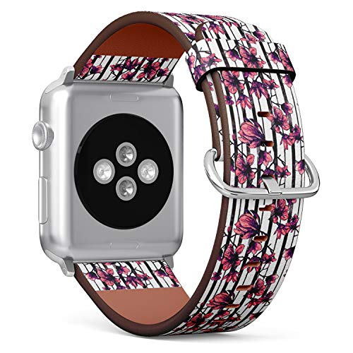 R-Rong iWatch Leather Replacement Strap Compatible with Apple Watch Series 4/3/2/1 Sport Edition 38/40mm - Delicate Orchid Flower ()