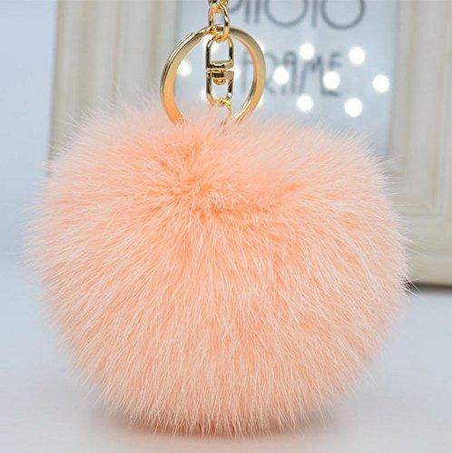 Minigianni 3.5 Inches Light Pink Big Fluffy Rabbit Fur Charm Pom Pom Ball with Key Ring Chain Keychain - Pendant for Handbag Wallet Purse Car Key(Light Pink)