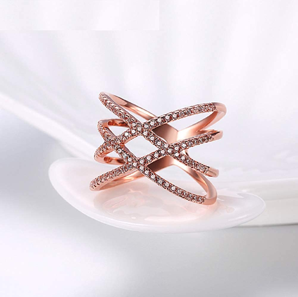 Blowin Rose Gold Plated Double Cross Criss Ring Party Cocktail Rings Wide Wedding Band for Women Girls Gifts for Christmas New Year Valentines Mother/'s Day