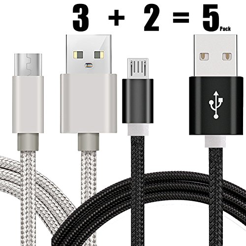 [5 Pack] Charge Sync Data Micro USB Cable for Kindle, 5FT Fast High Speed USB 2.0 A Male to Micro B for Amazon Kindle Fire, HD, HDX,Kindle Paperwhite Voyage Oasis Tap Fire Phone Xbox One-Silver+Black