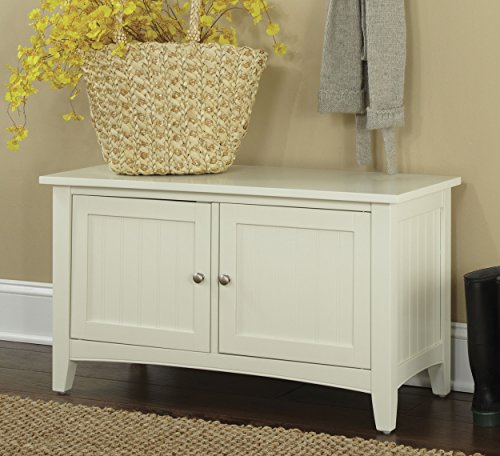 Shaker Cottage Storage Bench Cabinet with 2 Doors, Ivory