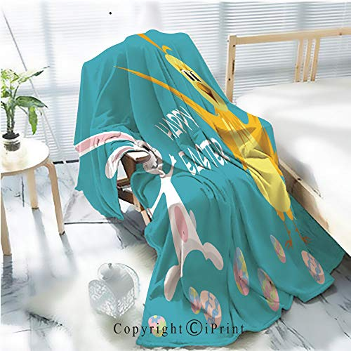 AngelSept Flannel Printed Blanket for Warm Bedroom,Easter Card Bunny and Chicken Cracked Burning Earth Decorative,One Side Printing,W47.2 x H78.7 -