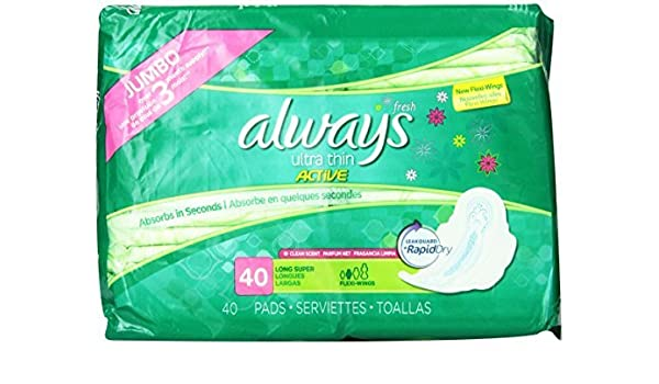 Amazon.com: Always Fresh Ultra Thin Long/Super Pads With Wings (240 Count): Health & Personal Care