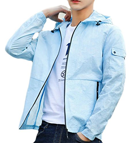 Packable Wading Jacket - JSY Men's Quick Dryi Light Hoodie Sunscreen Jacket Coat Outer Windbreaker Sky Blue M