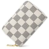 Classical Lattice Small Leather RFID Blocking Credit Card Holder with 11 Organ-style Card Slots Card Wallet (White)