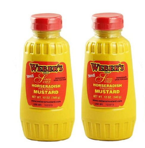 Weber`s Premium Horseradish Prepared Mustard Squeeze Bottle (2) 12 Oz. Containers (Mustard Buffalo)