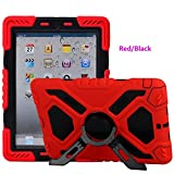 Meiya iPad 2 3 4 Case, Shockproof Protective Rugged with Builtin Screen Protector Full-body Hybrid Protective Kickstand Case Kids Cover For iPad 2 3 4 Case(Red+Black)